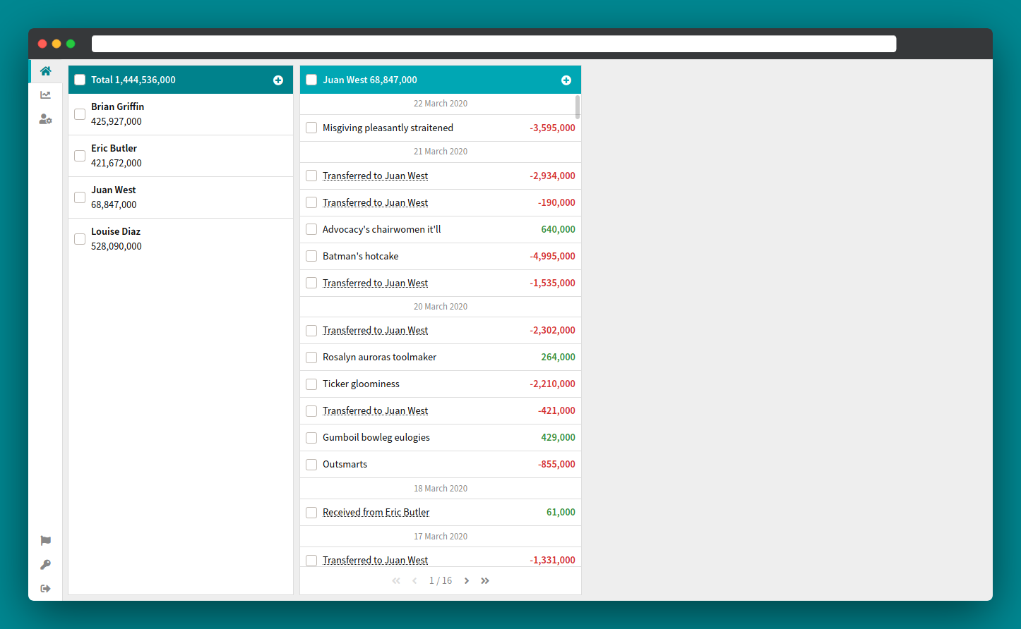 Screenshot that shows the basic income and expense tracking